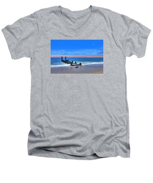 Men's V-Neck T-Shirt featuring the digital art Broken Pier by Sharon Batdorf