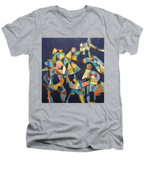 Men's V-Neck T-Shirt featuring the painting Broken Promises Last Forever by Bernard Goodman