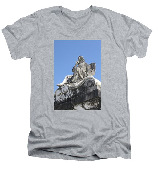 Men's V-Neck T-Shirt featuring the painting Broken Wing by Tbone Oliver