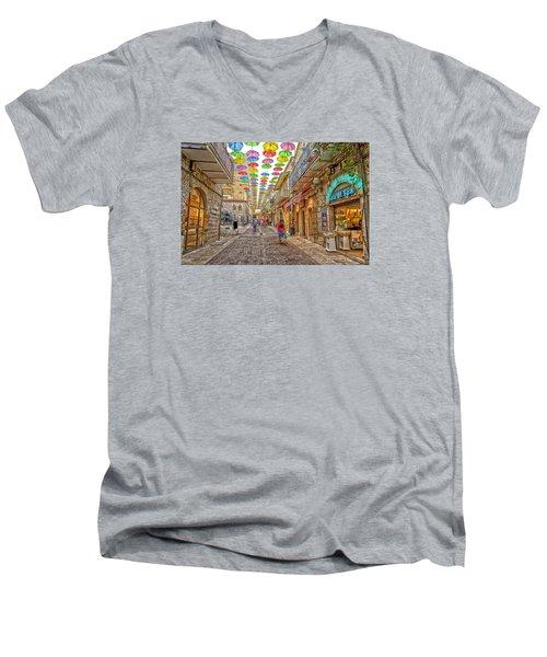 Brollies Over Jerusalem Men's V-Neck T-Shirt by Uri Baruch