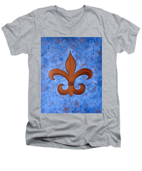 Bronze Fleur De Lis Men's V-Neck T-Shirt