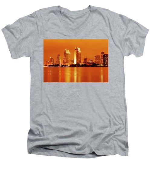 Bronze San Diego Skyline Men's V-Neck T-Shirt