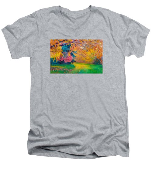 Brook Forest Garden At Fall Men's V-Neck T-Shirt