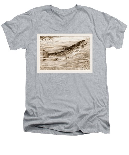 Brook Trout Going After A Fly Men's V-Neck T-Shirt by John Stephens