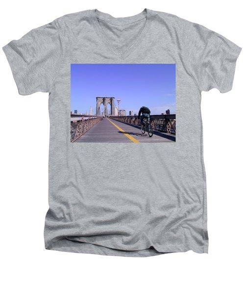 Brooklyn Bridge Bicyclist Men's V-Neck T-Shirt