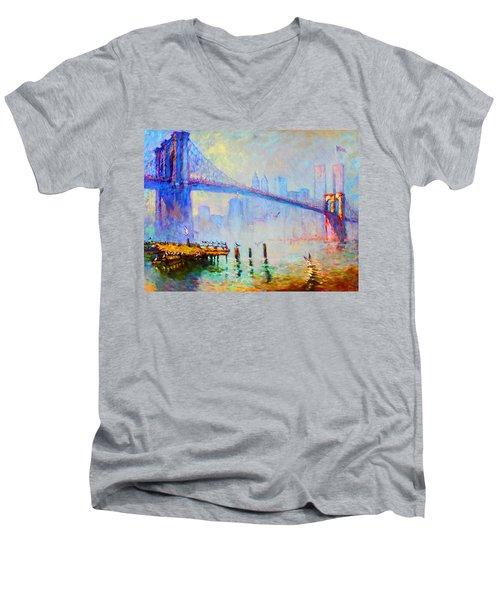 Brooklyn Bridge In A Foggy Morning Men's V-Neck T-Shirt by Ylli Haruni
