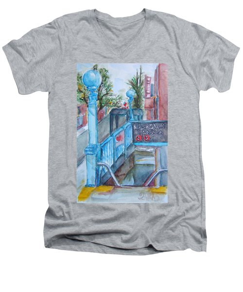 Brooklyn Subway Stop Men's V-Neck T-Shirt