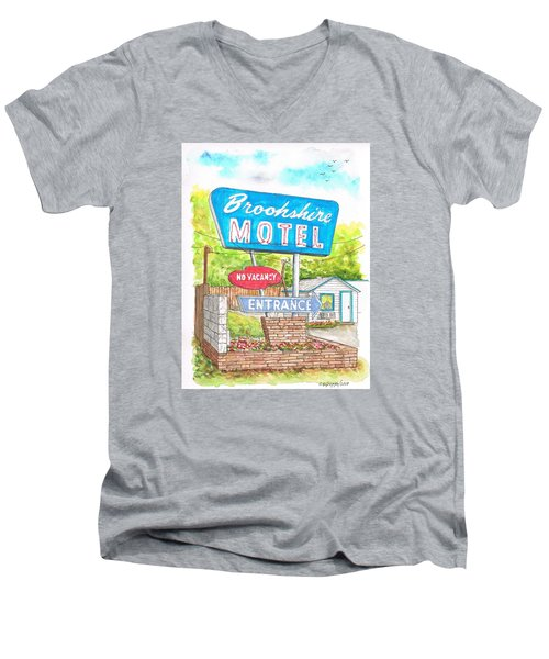 Brookshire Motel In Route 66, Tulsa, Oklahoma Men's V-Neck T-Shirt by Carlos G Groppa