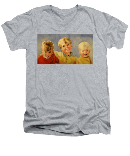 Men's V-Neck T-Shirt featuring the painting Brothers by Marilyn Jacobson