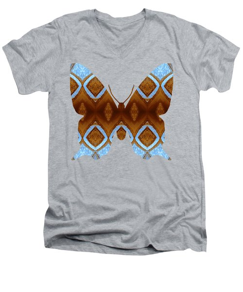 Brown And Blue Butterfly Men's V-Neck T-Shirt
