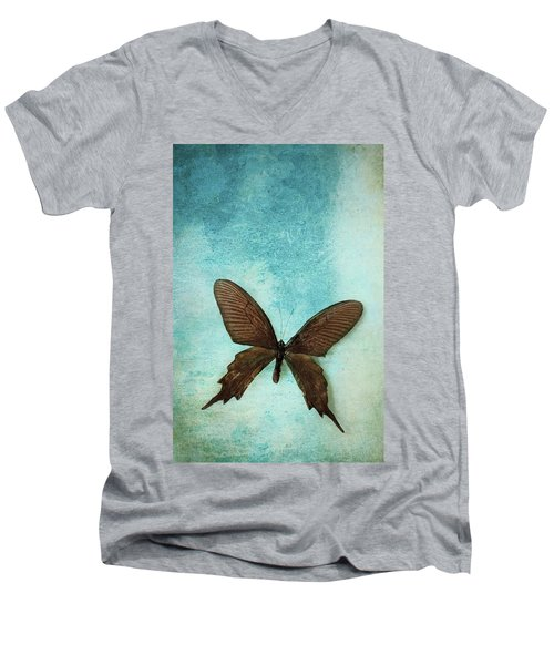Brown Butterfly Over Blue Textured Background Men's V-Neck T-Shirt