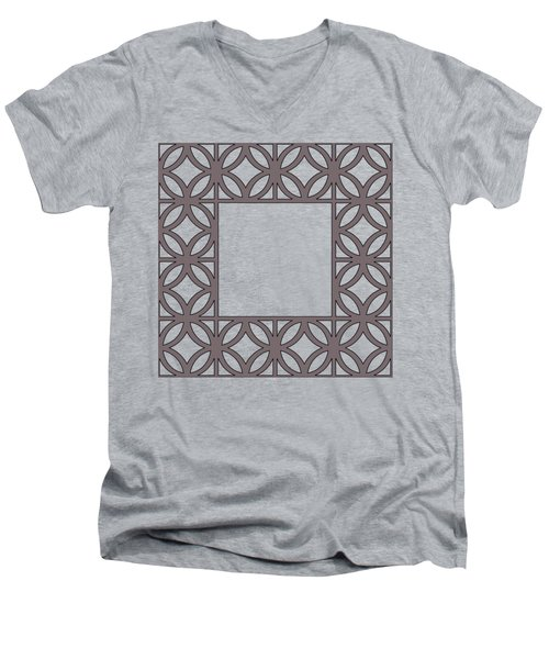 Men's V-Neck T-Shirt featuring the digital art Brown Circles And Squares by Chuck Staley