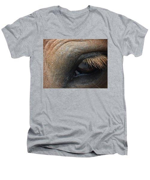 Brown Horse Eye Men's V-Neck T-Shirt