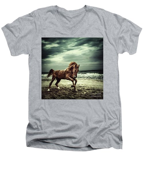 Brown Horse Galloping On The Coastline Men's V-Neck T-Shirt