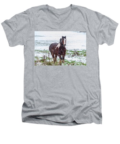 Brown Horse Galloping Through The Snow Men's V-Neck T-Shirt