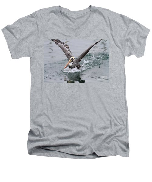 Brown Pelican Landing On Water . 7d8372 Men's V-Neck T-Shirt
