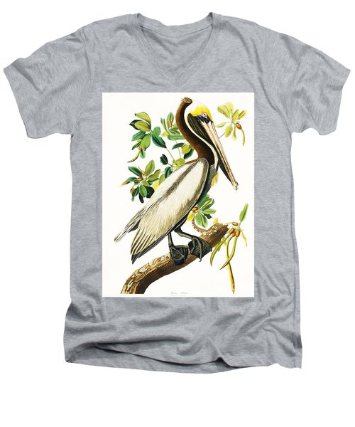Brown Pelican Men's V-Neck T-Shirt by Pg Reproductions