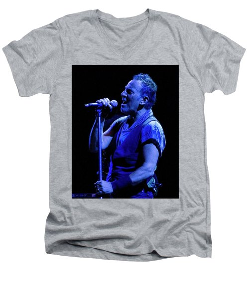 Men's V-Neck T-Shirt featuring the photograph Bruce Springsteen-penn State 4-18-16 by Jeff Ross