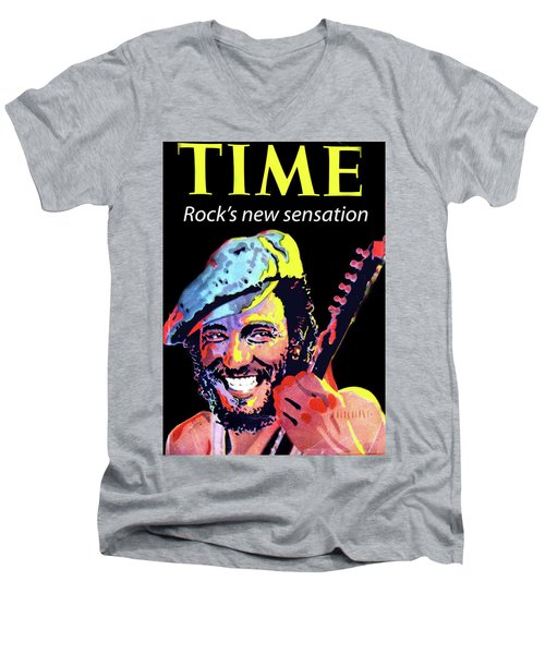 Bruce Springsteen Time Magazine Cover 1980s Men's V-Neck T-Shirt