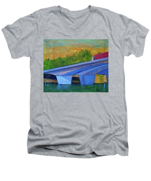 Men's V-Neck T-Shirt featuring the painting Brunswick River Bridge by Paul McKey