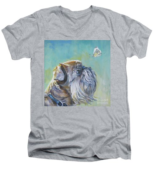 Brussels Griffon With Butterfly Men's V-Neck T-Shirt by Lee Ann Shepard
