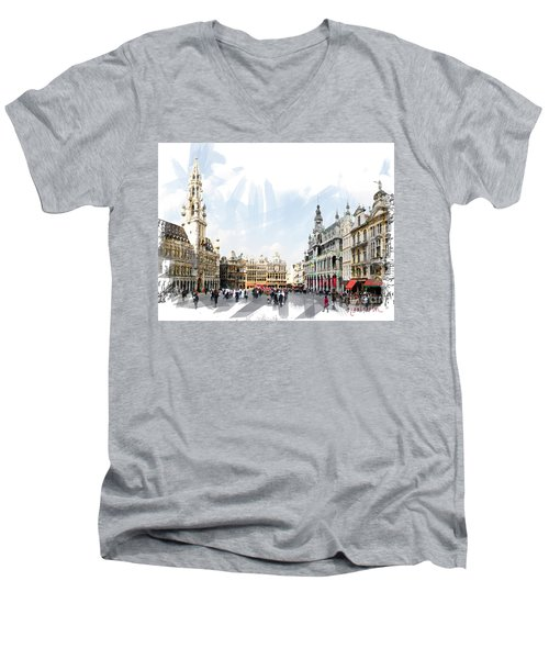 Men's V-Neck T-Shirt featuring the photograph Brussels Grote Markt  by Tom Cameron