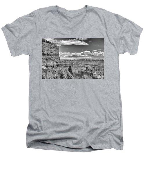 Bryce Canyon In Black And White Men's V-Neck T-Shirt by Nancy Landry