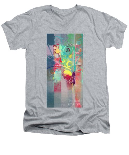 Men's V-Neck T-Shirt featuring the painting Bubble Tree - 285l by Variance Collections