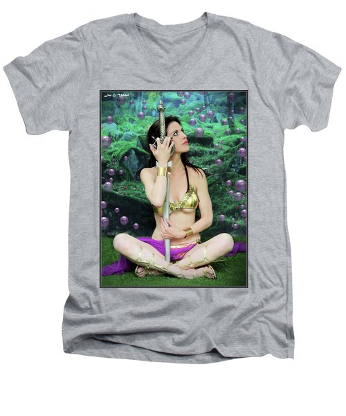 Bubbles And Sword Men's V-Neck T-Shirt