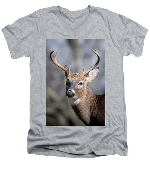 Men's V-Neck T-Shirt featuring the photograph Buck Headshot by Tyson and Kathy Smith