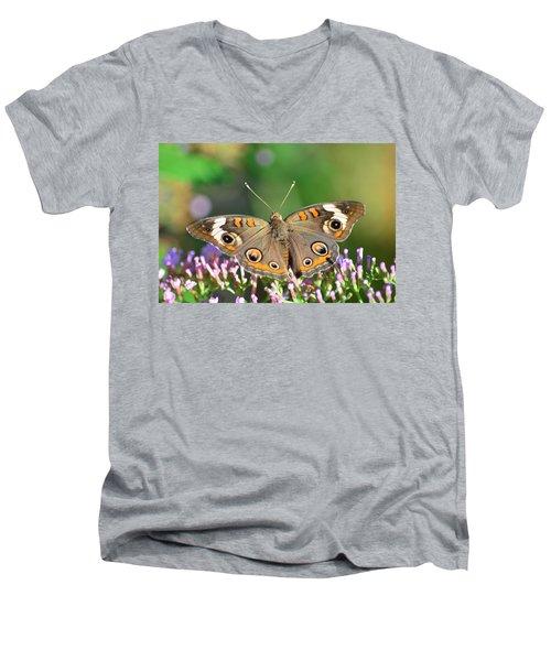 Buckeye Butterfly Men's V-Neck T-Shirt by Kathy Eickenberg
