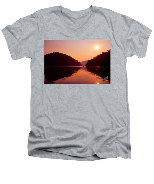 Men's V-Neck T-Shirt featuring the photograph Buckhorn Lake Sunset by Thomas R Fletcher