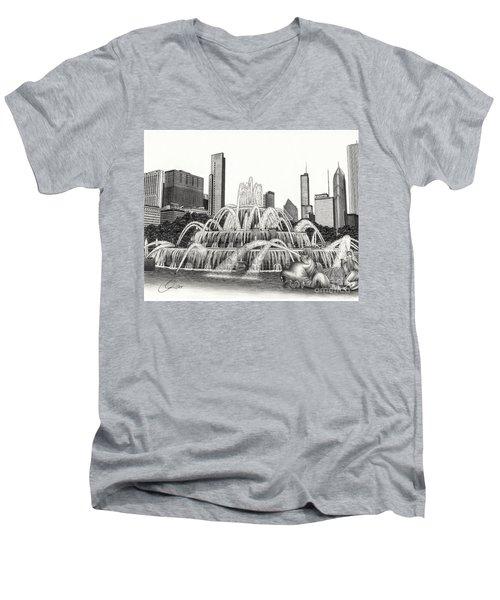 Buckingham Fountain Drawing Men's V-Neck T-Shirt