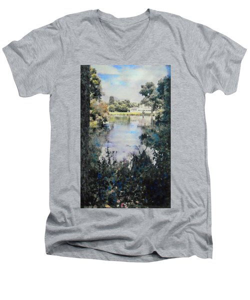 Men's V-Neck T-Shirt featuring the painting Buckingham Palace Garden - No One by Richard James Digance