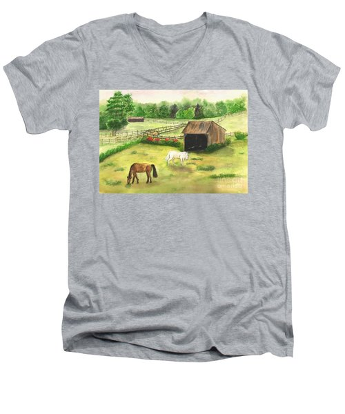 Bucks County Horse Farm Men's V-Neck T-Shirt by Lucia Grilletto