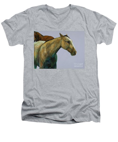 Men's V-Neck T-Shirt featuring the painting Buckskin by Frances Marino