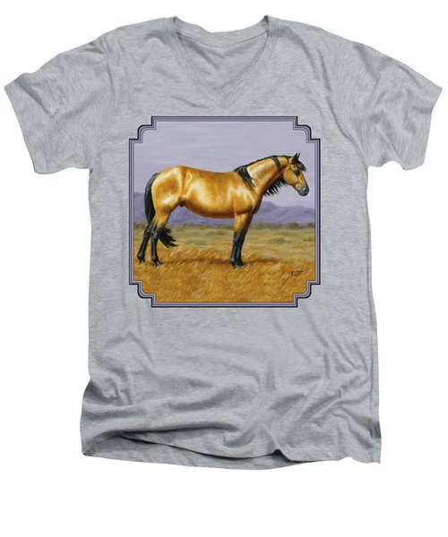 Buckskin Mustang Stallion Men's V-Neck T-Shirt by Crista Forest