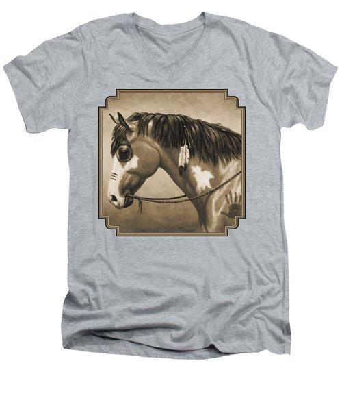 Buckskin War Horse In Sepia Men's V-Neck T-Shirt by Crista Forest