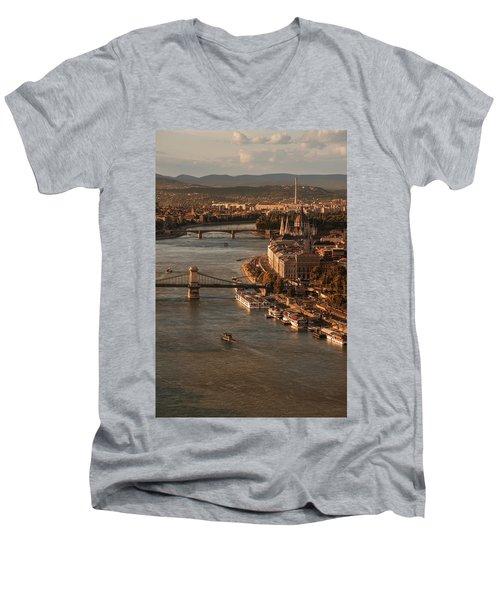 Budapest In The Morning Sun Men's V-Neck T-Shirt by Jaroslaw Blaminsky