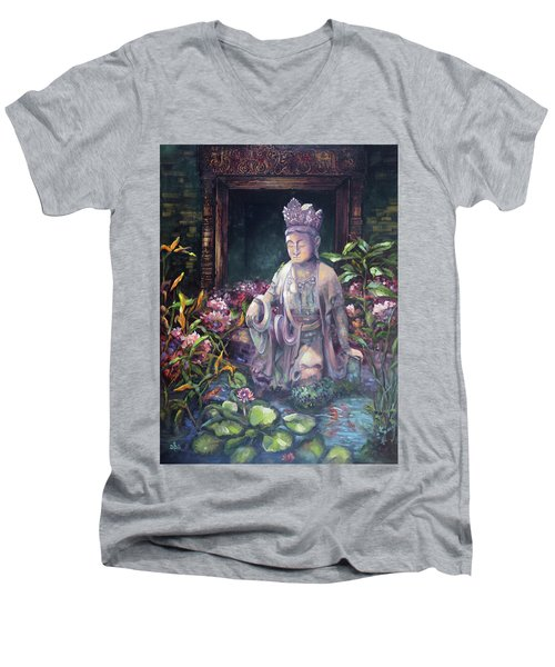 Budda Statue And Pond Men's V-Neck T-Shirt