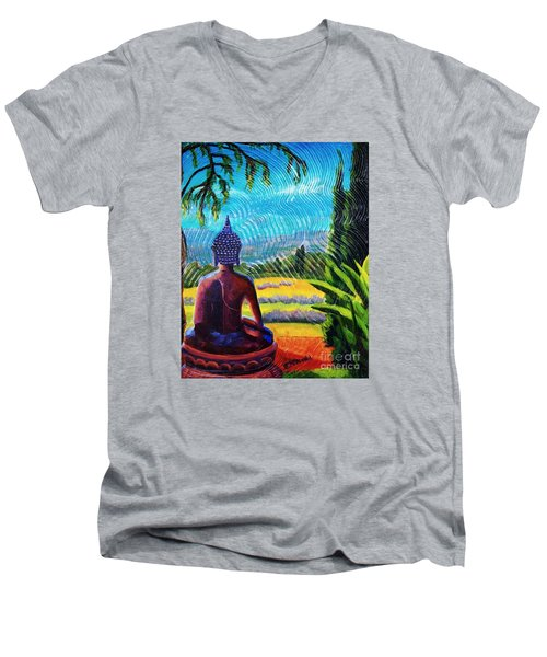 Buddha Atop The Lavender Farm Men's V-Neck T-Shirt