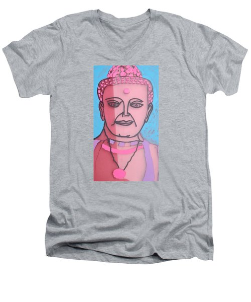 Men's V-Neck T-Shirt featuring the painting Buddha Face by Don Koester