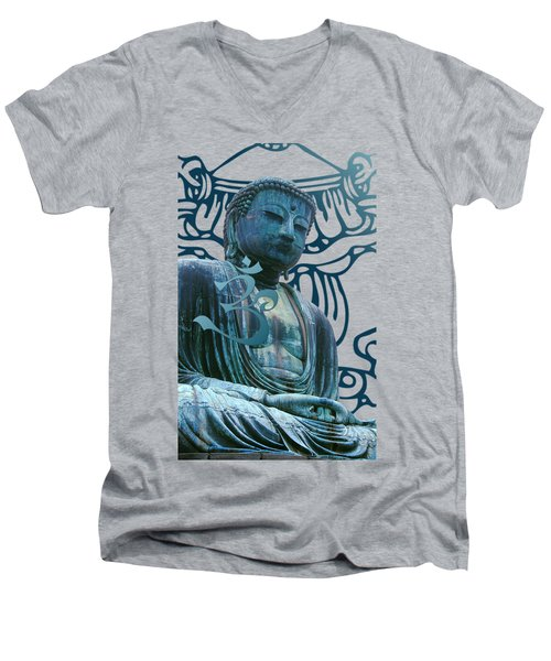 Men's V-Neck T-Shirt featuring the digital art Buddha Great Statue by Robert G Kernodle