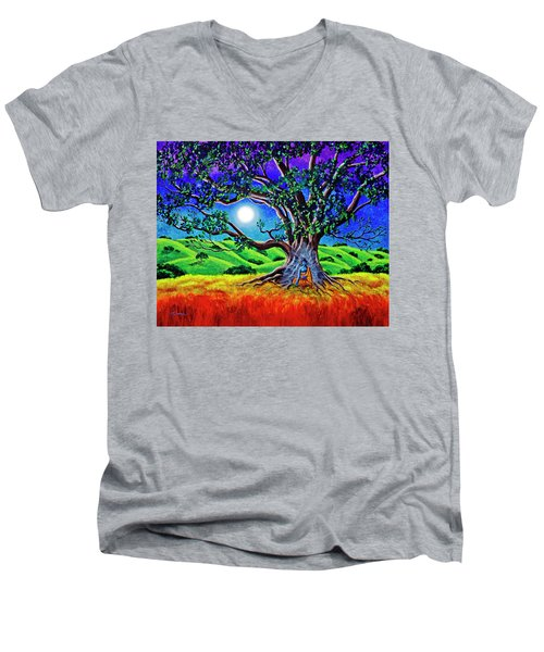 Buddha Healing The Earth Men's V-Neck T-Shirt by Laura Iverson
