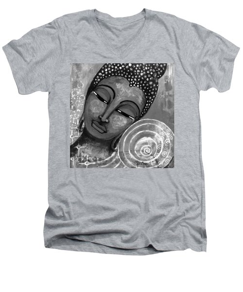 Men's V-Neck T-Shirt featuring the mixed media Buddha In Grey Tones by Prerna Poojara