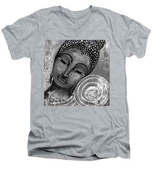 Buddha In Grey Tones Men's V-Neck T-Shirt