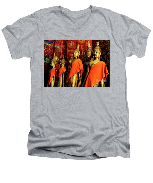 Men's V-Neck T-Shirt featuring the photograph Buddha Laos 2 by Bob Christopher