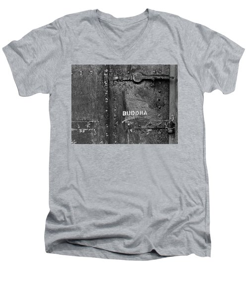 Men's V-Neck T-Shirt featuring the photograph Buddha by Laurie Stewart