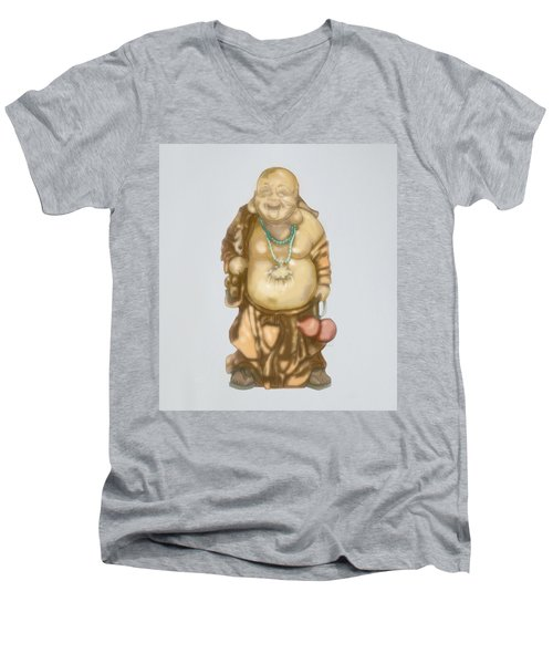 Men's V-Neck T-Shirt featuring the mixed media Buddha by TortureLord Art