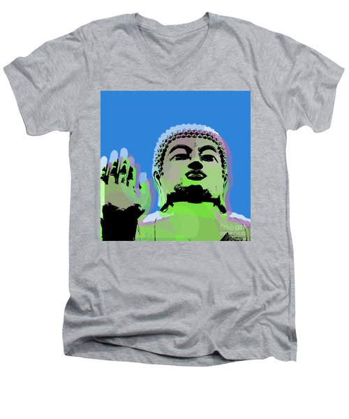 Men's V-Neck T-Shirt featuring the digital art Buddha Warhol Style by Jean luc Comperat
